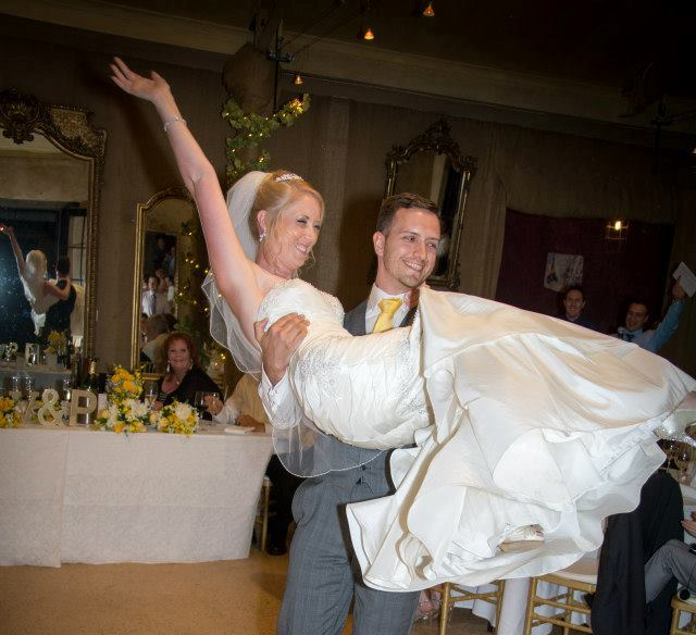 Happy dance at wedding reception