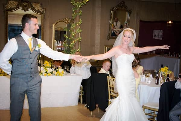 Performing their wedding dance at the reception
