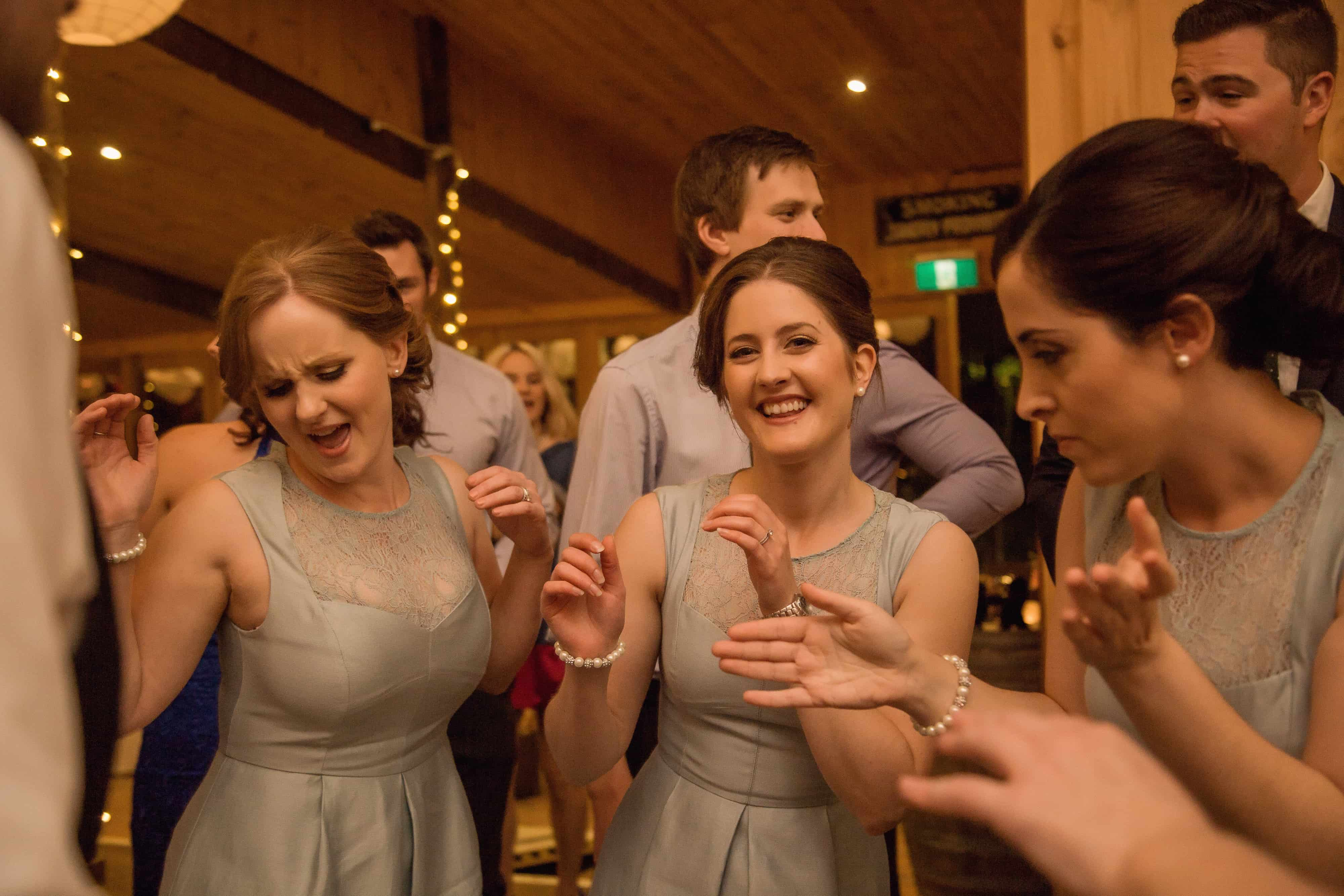 Bridesmaids dancing at wedding in South Australia